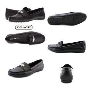 COACH Fredrica Black Pebbled Leather Loafers